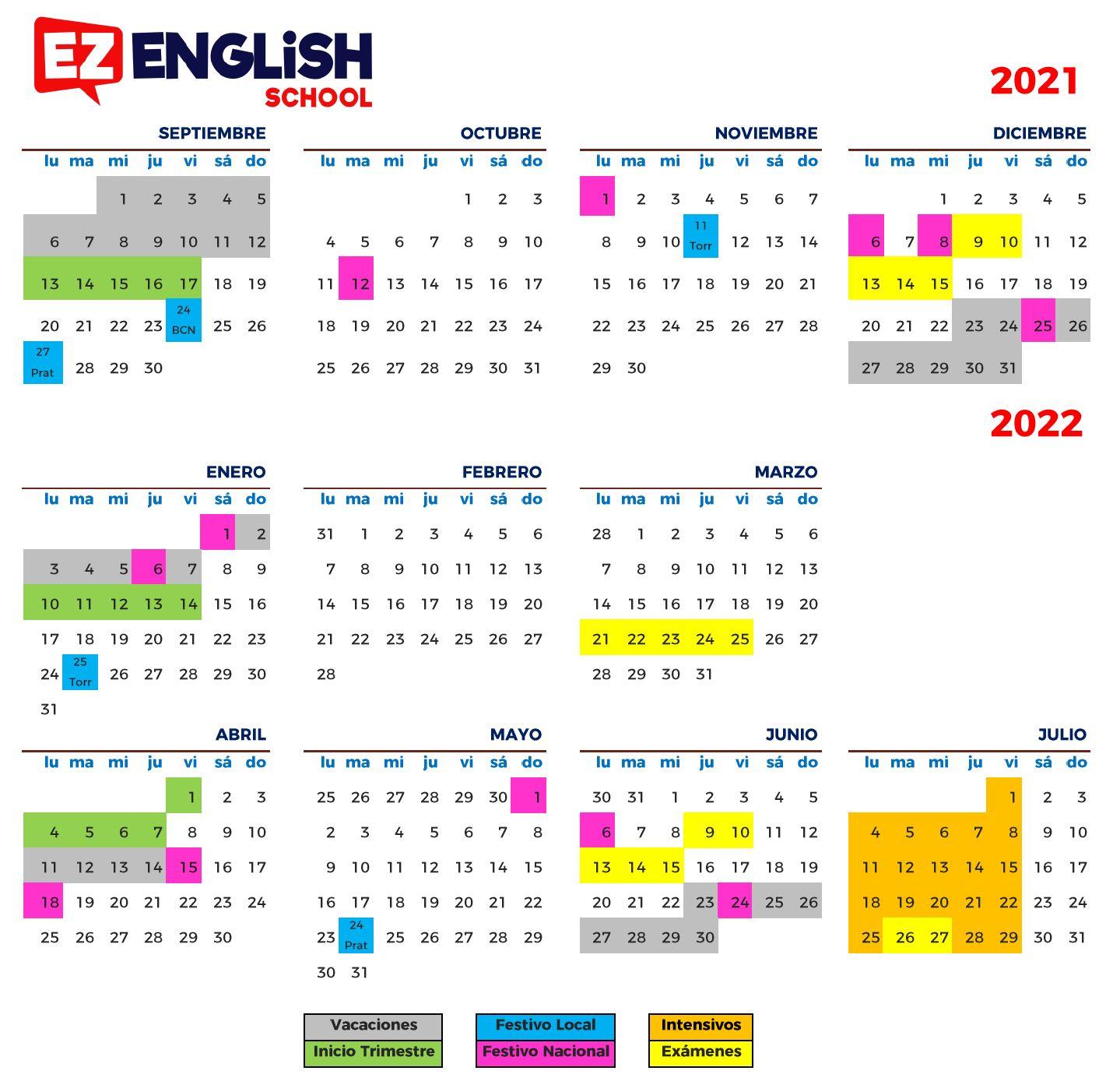 Calendario EZ English 21-22